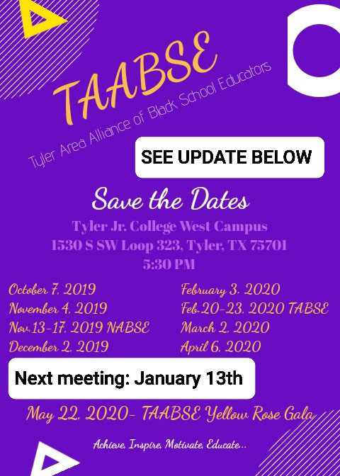 TYLER AABSE Meetings @ Tyler Junior College (West Campus)