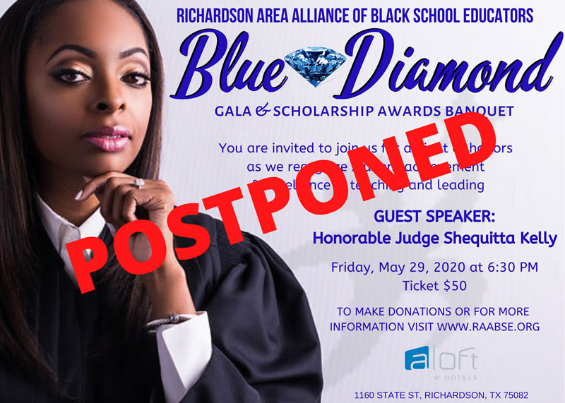 Postponed: Richardson AABSE Blue Diamond Gala/Scholarship Awards Banquet @ ALoft