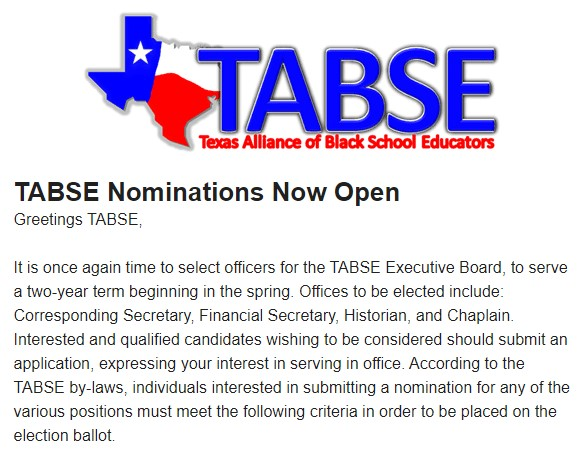 TABSE Nominations - Now Open